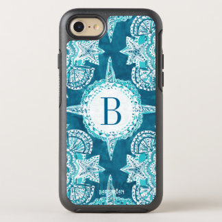 Monogram INNER MERMAID COMPASS Aqua Shell Moroccan OtterBox Symmetry iPhone 7 Case