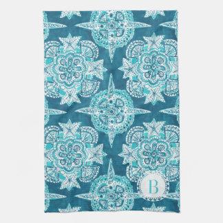 Monogram INNER MERMAID COMPASS Aqua Shell Moroccan Towel