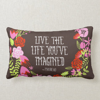 Monogram Inspiration Live Life Imagined Quote Lumbar Pillow