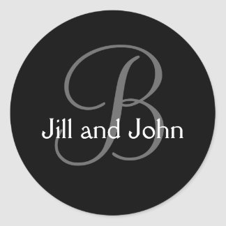 Monogram Intial Wedding Bride Groom Names Sticker