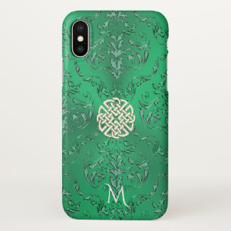 Monogram Irish Green Damask White Gold Celtic Knot iPhone X Case
