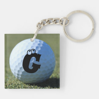 (Monogram - It) Golf Ball on Green close-up photo Double-Sided Square Acrylic Keychain