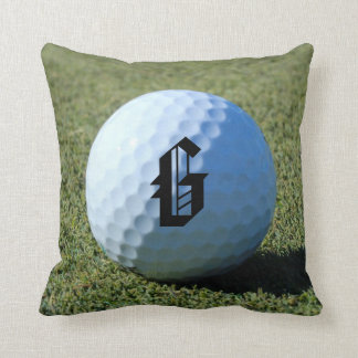 (Monogram - It) Golf Ball on Green close-up photo Throw Pillow