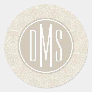 Monogram   Ivory Damask Classic Round Sticker