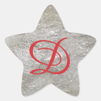 Monogram Ivory Glitter Star Sticker