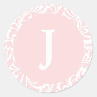Monogram J Blush Color Custom Wedding Monograms In Round Sticker