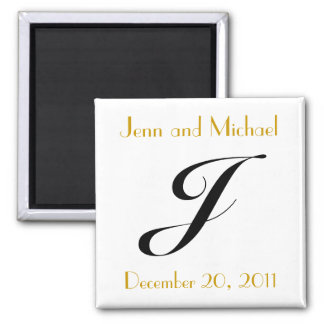 Monogram J Gold & Black Wedding Announcement Square Magnet