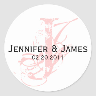 Monogram J Save the Date Wedding Sticker