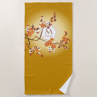 Monogram Japanese Plum Blossoms Moon Gold Branch Beach Towel