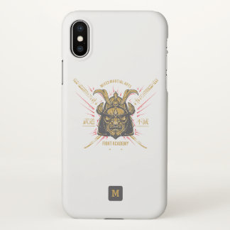 Monogram. Japanese Samurai Gold Mask. iPhone X Case