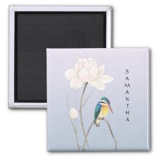 Monogram Japanese Vintage Kingfisher Lotus Magnet