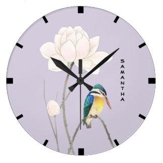 Monogram Japanese Vintage Kingfisher Wall Clock
