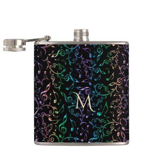 Monogram Jewelled Rainbow Music Notes Pattern Hip Flask