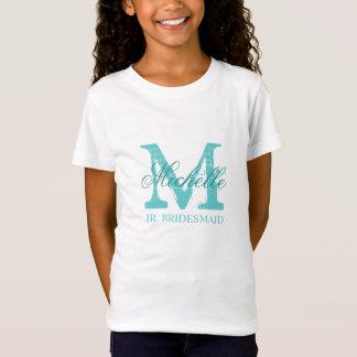 Monogram jr junior bridesmaid t shirt for girls