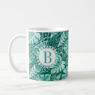 Monogram JUNGLE IKAT Hawaiian Green Tropical Coffee Mug
