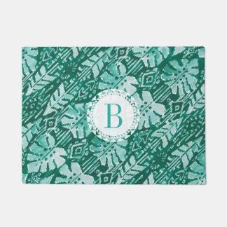 Monogram JUNGLE IKAT Hawaiian Green Tropical Doormat