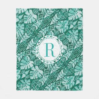 Monogram JUNGLE IKAT Hawaiian Green Tropical Fleece Blanket