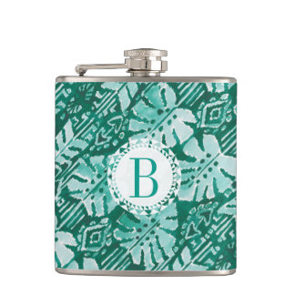 Monogram JUNGLE IKAT Hawaiian Green Tropical Hip Flask