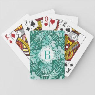 Monogram JUNGLE IKAT Hawaiian Green Tropical Playing Cards