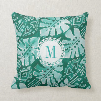 Monogram JUNGLE IKAT Hawaiian Green Tropical Throw Pillow