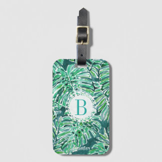 Monogram JUNGLE VIBES Green Tropical Monstera Luggage Tag