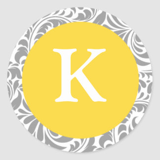 Monogram K Canary Yellow Customizable Seals For We Round Sticker