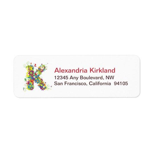 Monogram K Floral Return Address Labels