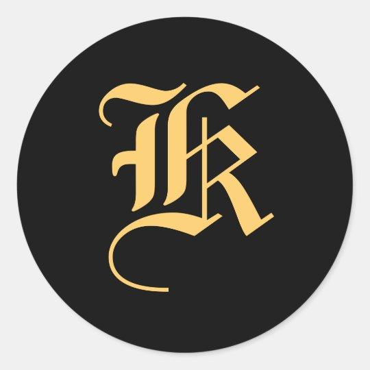 "Monogram ""K"" Gold-Colour on Black Classic Round Sticker"