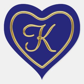 Monogram K in 3D gold Heart Sticker