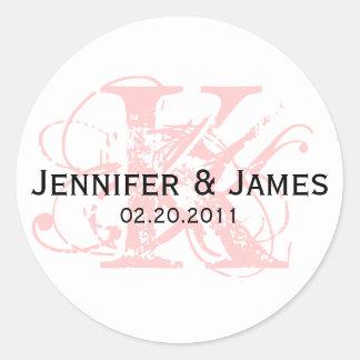 Monogram K Save the Date Wedding Sticker