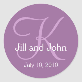 Monogram K Wedding Bride Groom Date Purple Sticker