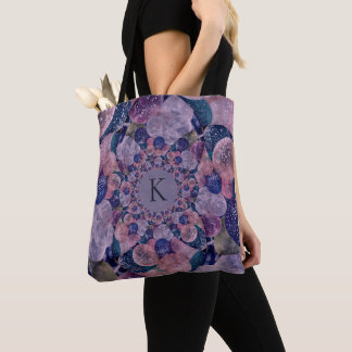 Monogram Kaleidoscope Purple And Pink Balloons Tote Bag