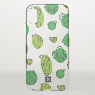 Monogram. Kawaii Cute Cactus Pattern. iPhone X Case