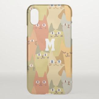 Monogram. Kawaii Cute Little Kitten Cats. iPhone X Case