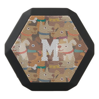 Monogram. Kawaii Cute Little Puppy Dogs. Black Bluetooth Speaker
