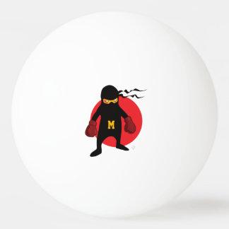 Monogram. Kawaii Cute Ninja for Nerd Geek. Ping Pong Ball