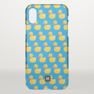 Monogram. Kawaii Cute Rubber Ducky Pattern. iPhone X Case