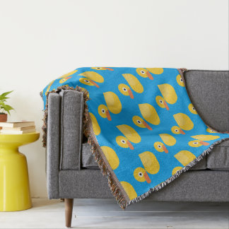Monogram. Kawaii Cute Yellow Rubber Ducky. Throw