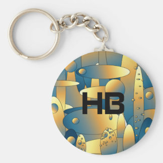 Monogram key-ring with abstract artwork customize basic round button key ring