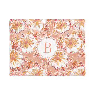 Monogram KOMBUCHA-CHA Peach Tropical Hibiscus Doormat
