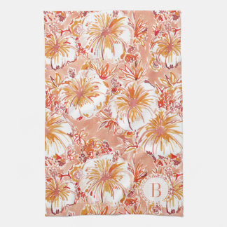 Monogram KOMBUCHA-CHA Peach Tropical Hibiscus Kitchen Towel