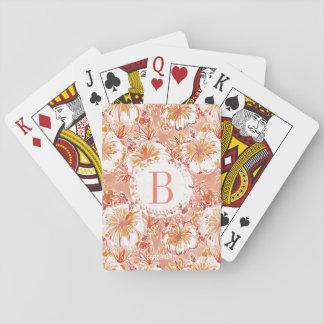 Monogram KOMBUCHA-CHA Peach Tropical Hibiscus Playing Cards