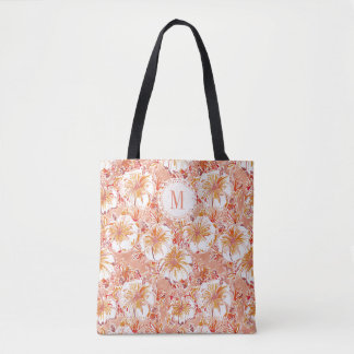 Monogram KOMBUCHA-CHA Peach Tropical Hibiscus Tote Bag