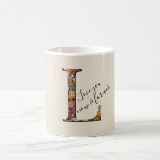 Monogram L, Floral letter L, Custom text Love you Coffee Mug