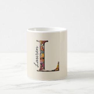 Monogram L, Floral letter L, Mug
