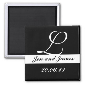 Monogram L Wedding Black & White Save the Date Magnet