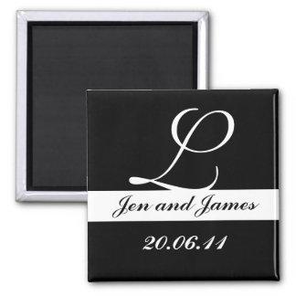 Monogram L Wedding Black & White Save the Date Square Magnet