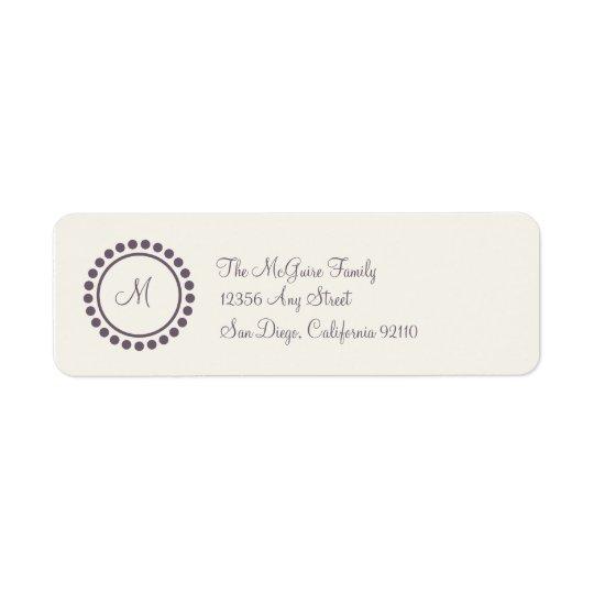 Monogram Label (plum) Return Address Label