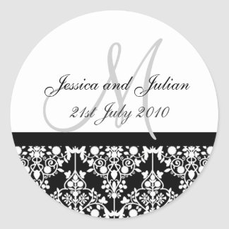 Monogram Labels - Damask Trellis - Black