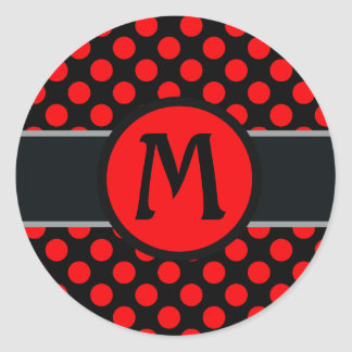 Monogram lady Polka dot - Custom  background Classic Round Sticker